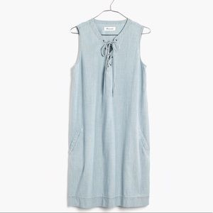 Madewell Lace-Up Chambray Dress